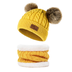 kids-hat-with-pom-pom-Double-Ball-cute-Children's-Wool-Hat-Twist-Wool-Ball-hat