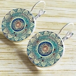 Vintage Mandala Glass Dome Earrings