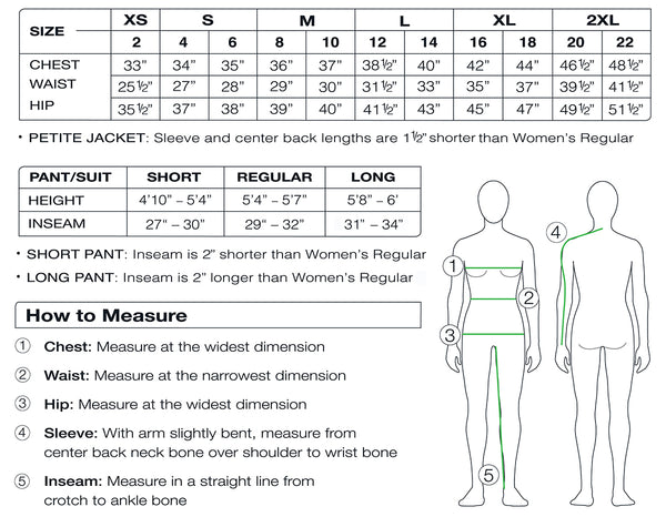 Posh Carbon Women's clothing size chart