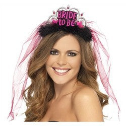 Bachelorette Bride to be Tiara with Veil Black and Pink
