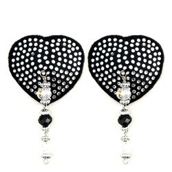 Bijoux de Nip Black Crystal Heart Pasties with Facet Beads