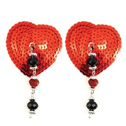 Bijoux de Nip Red Sequin Heart Pasties with Facet Beads