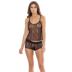 Coquette Lingerie Black Cami Top and Shorts Set One Size