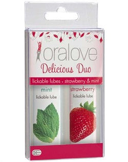 Doc Johnson oralove Delicious Duo Strawberry and Mint