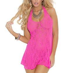 Elegant Moments Neon Pink Lace Halter Dress