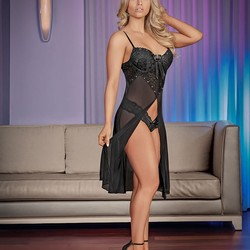 Exposed Lingerie Nightfall Short Gown and Thong Panty Set