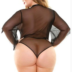 Fantasy Lingerie Curve Celine Collared Bodysuit Plus Size