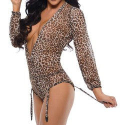 Fantasy Lingerie Shiva Long Sleeve Animal Print Mesh Teddy