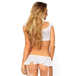 Lace Trimmed Floral Mesh Bralette and Matching Garter Skirt