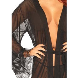 Leg Avenue Black Sheer Short Robe With Eyelash Lace Trim and Flared Sleeves with Panty