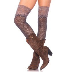 Leg Avenue Gray Crochet Knit Over the Knee Slouch Socks with Wide Lace Top