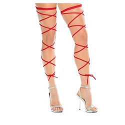 Long Red Leg Wrap Garter