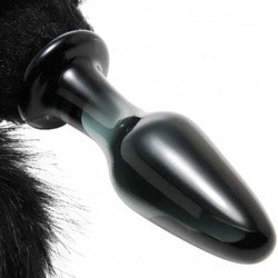 Midnight Black Fox Tail Glass Anal Plug