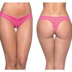 Oh La La Cheri Pink Crotchless Thong Panty With Pearl Strand