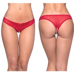Oh La La Cheri Red Crotchless Thong Panty With Pearl Strand