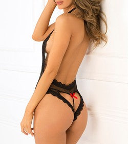 Rene Rofe Open Back Lace and Net Black Teddy