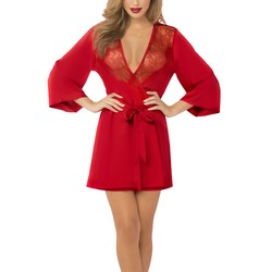 Seven till Midnight Red Satin and Eyelash Lace Robe