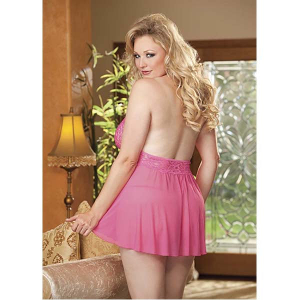 Shirley of Hollywood Hot Pink Stretch Mesh and Lace Babydoll with Bow - Queen
