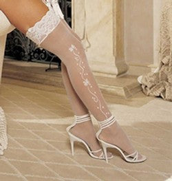 Shirley of Hollywood Wedding Bell Sheer Stockings White