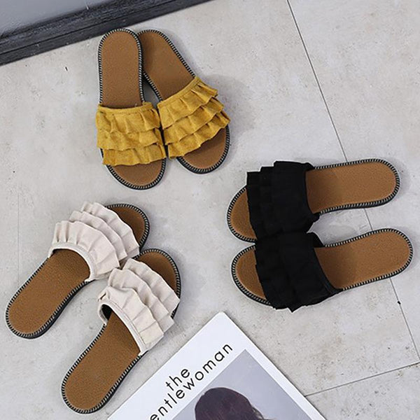 Women Flocking Slippers Casual Peep Toe Shoes
