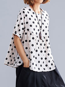 Plus Size Women Short Sleeve Round Neck Polka Dots Casual Tops