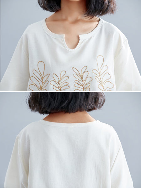 Plus Size Women Short Sleeve Round Neck Vintage Embroidered Floral Casual Tops