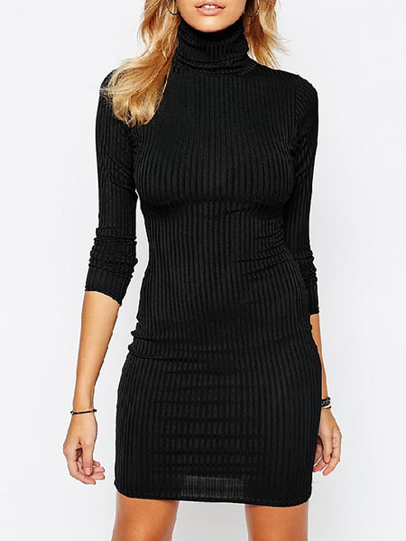 Casual Solid Turtle Neck Knitted Fall Dress
