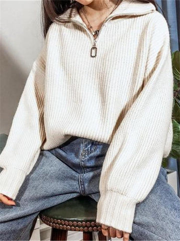Ladies Fashion Half Zip Apricot White Knit Sweater