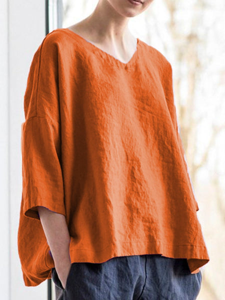 Women Casual Tops V Neck Asymmetrical Long Sleeve Cotton Shirts