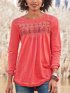 Cotton-Blend Casual Long Sleeve Printed Shirts & Tops