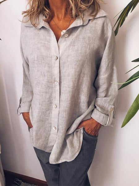 Women Casual Loose Long Sleeve Blouse Shirt Tops Tunic