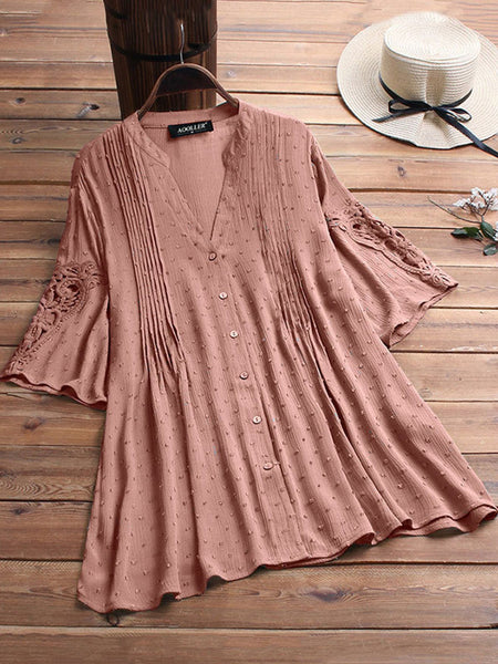 Women Casual Lace Cutout Tops Tunic Blouse Shirt