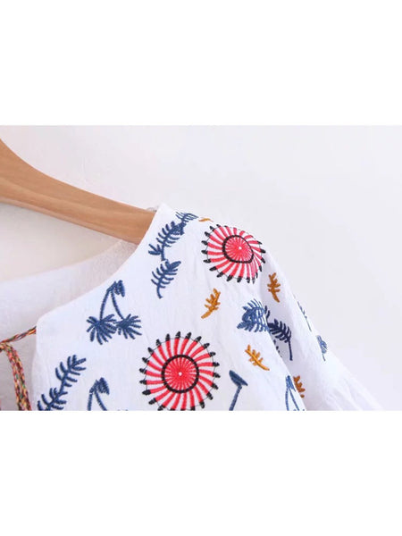 Women Casual Embroidered Tops Tunic Blouse Shirt