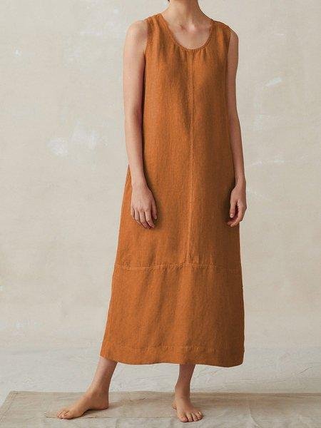 Cotton-Blend Casual Round Neck Sleeveless Dresses