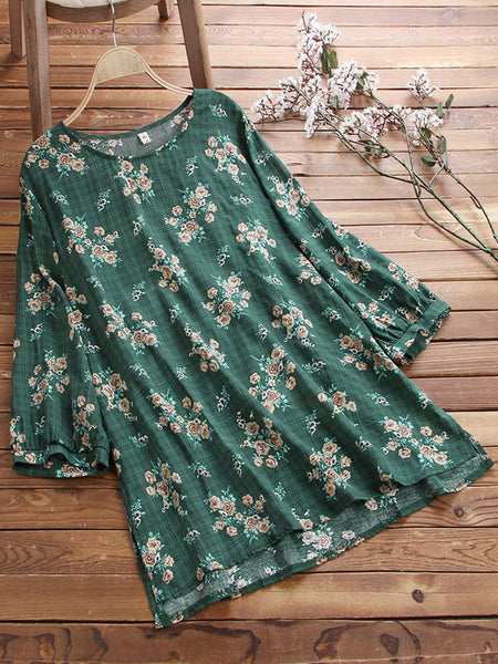 Women Casual Loose Floral Tops Tunic Blouse Shirt