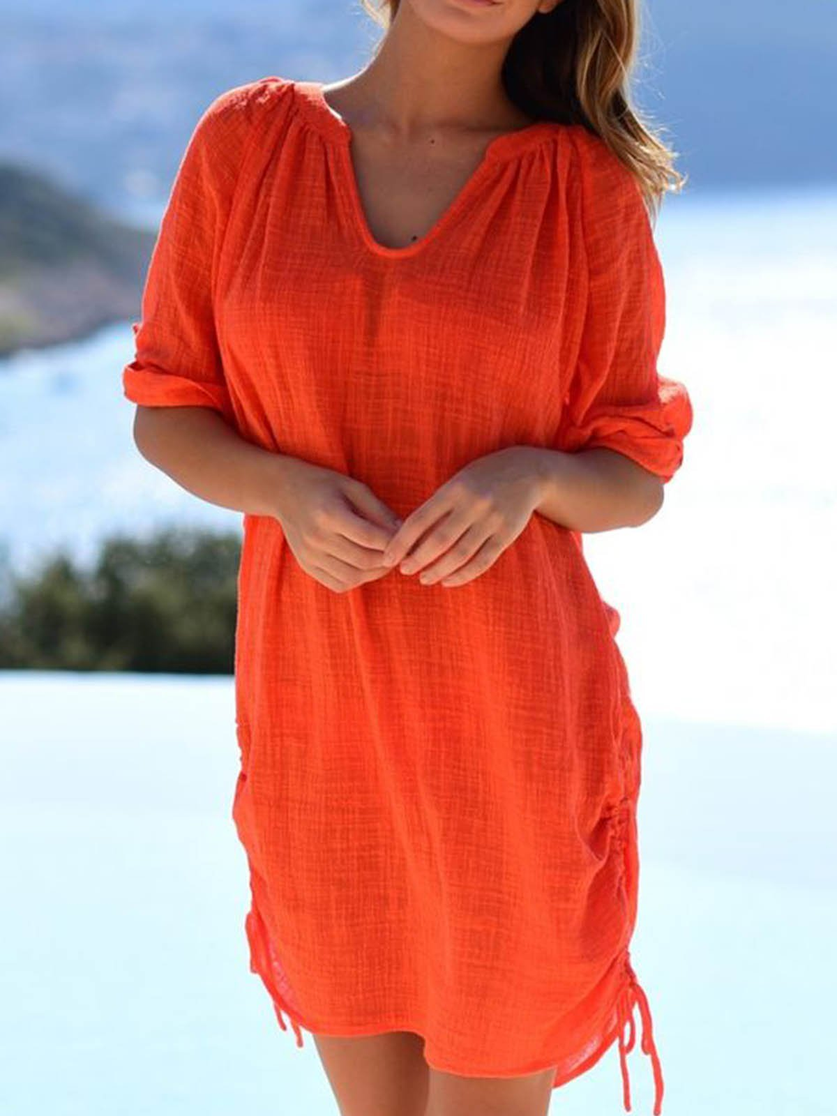 Orange Half Sleeve Cotton-Blend Dresses