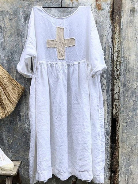 Women Linen Dress With Swiss Cross