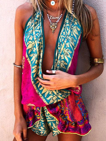 Boho Multicolor Printed Casual Jumpsuit