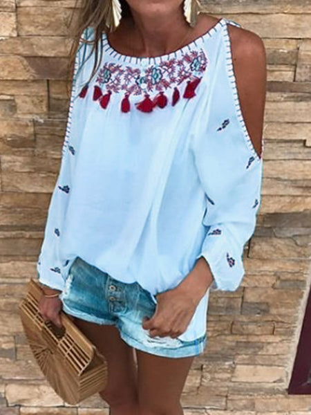 Sweet Long Sleeve Off Shoulder Casual Tops