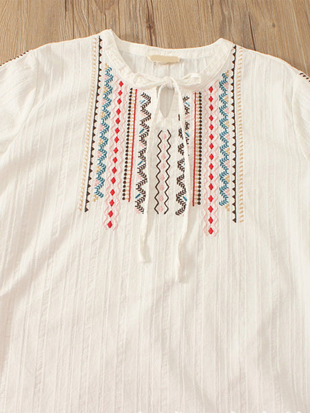 Women Casual Embroidery Tops Tunic Blouse Shirt
