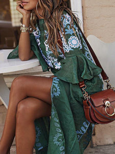 Vintage Embroidery Floral Vacation Dress