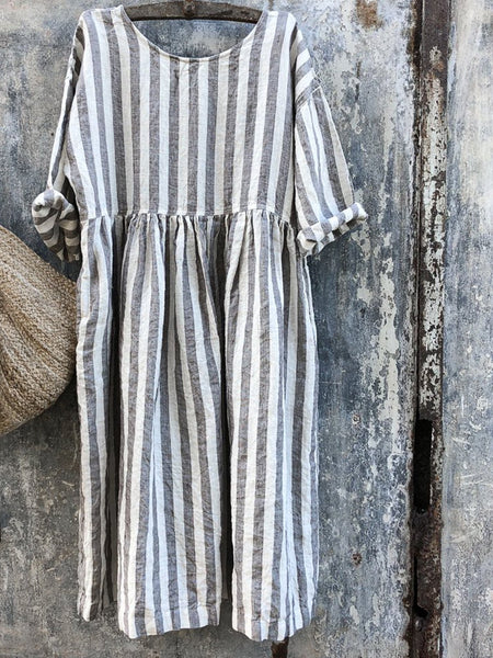 Women Gray/Blue and White Stripe Linen Dress