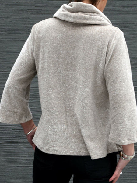 Gray Cotton-Blend Cowl Neck 3/4 Sleeve Shirts & Tops