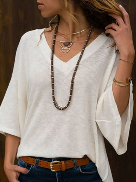 White Solid Bell Sleeve Shirts & Tops