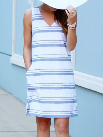 White Blue Stripes V-neck Dresses