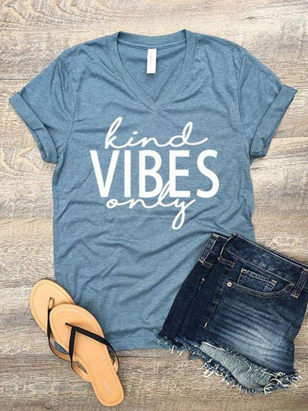 Gray Blue Cotton-Blend Letter Casual Shirts & Tops