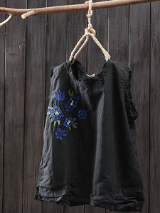 Women Casual Embroidery Tops Tunic Tank Vest