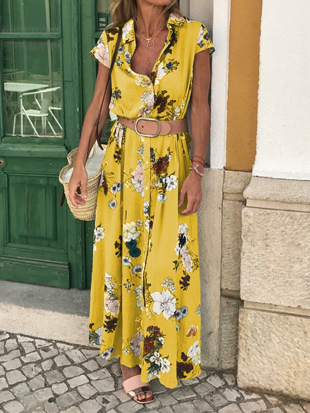 Floral Shirt Collar Short Sleeve Maxi Dresses
