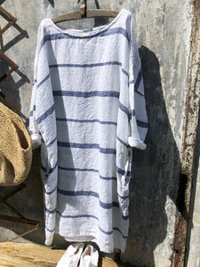 Women Summer Loose Newport Nautical Stripe Soft Linen Dresses