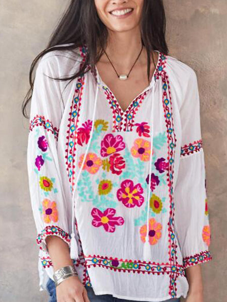 3/4 Sleeve Casual Patchwork Shirts & Tops